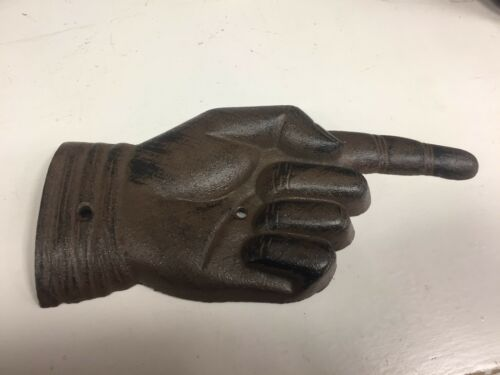 Cast Iron Antique Style Pointing Finger Pointer Sign Rustic Ranch Decor Hand