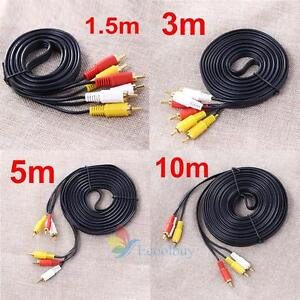 1-5M-3M-5M-10M-3-RCA-Male-to-Male-Composite-AV-Audio-Video-Cable-DVD-TV-Lead-A