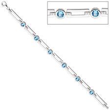 NEU Damen Luxus Glitzer Armkette hellblau  925 Silber 925er  Armband 19 cm 7 mm