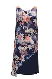 2741b37f4 Image is loading Wallis-Petite-Navy-Floral-Print-Overlay-Dress-8