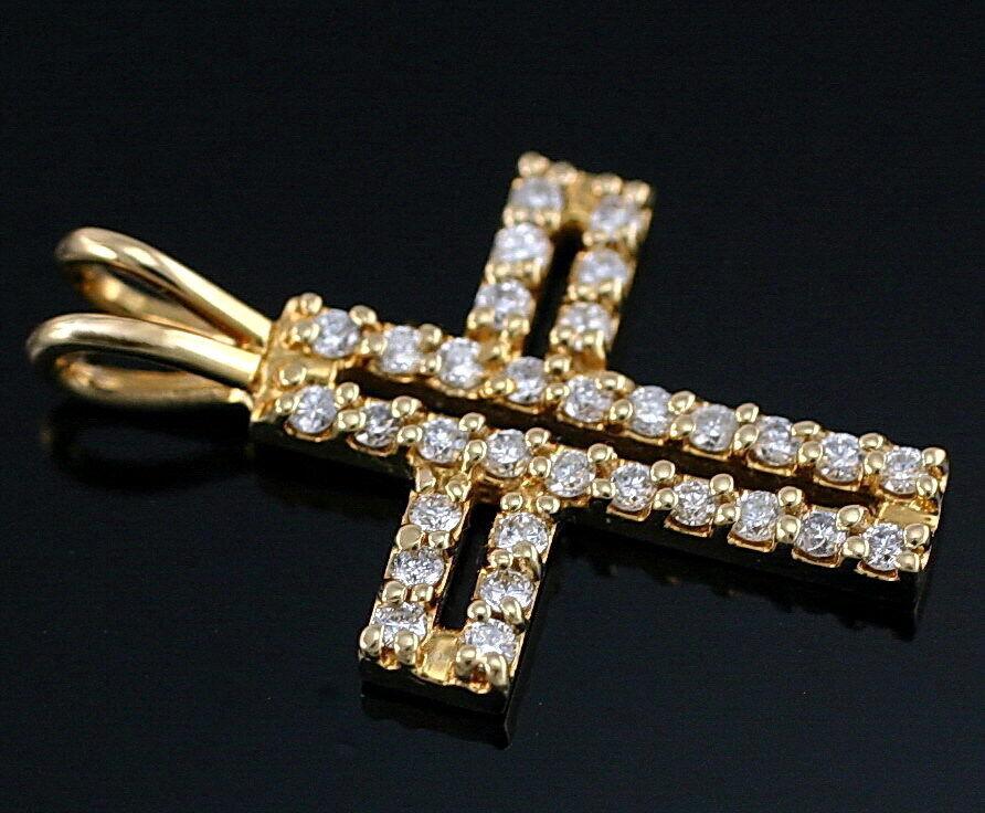 14K  Yellow gold Cross Diamond Charm Pendant  22 mm .30 ctw New Religious