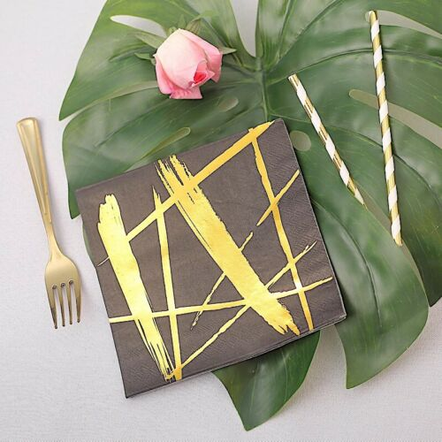 "20 BLACK GOLD 13x13/"" Metallic Abstract Paper Napkins Party Wedding  Supplies"