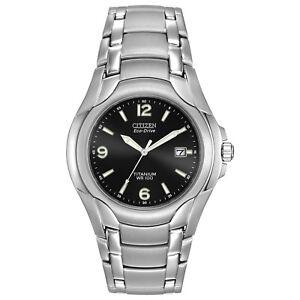 Citizen-Eco-Drive-Men-039-s-Black-Dial-Titanium-Bracelet-40mm-Watch-BM6060-57F