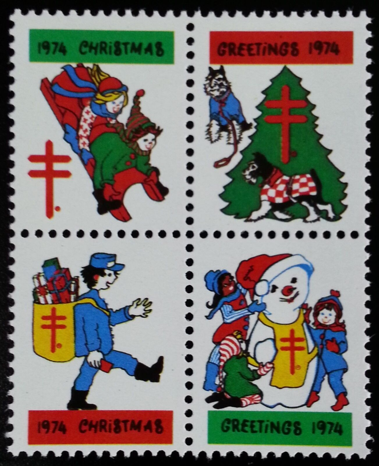 1974 American Lung Association Christmas Seals, Block o