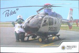 Autogrammkarte-POLDI-Polizeimaskottchen-LKA-Sachsen-mit-Hubschrauber