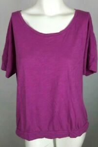 ANN TAYLOR LOFT Women's Top Large Purple Short Sleeve Scoop Neck L Cotton