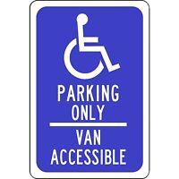 Handicap Parking Only Aluminum Metal Blue Sign 8 X 12 Van Accessible