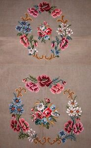 EP-2291-3-Vintage-Floral-Bouquet-2pc-Chair-Seat-Set-Preworked-Needlepoint-Canvas