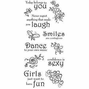 Inkadinkado-Clear-Stamps-Thoughts-for-the-Day-Dance-Smiles-Laugh-Girls