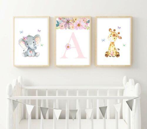 3 Personalised Nursery Prints Baby Elephant Giraffe Jungle Wall Art Decor Room