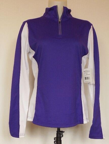 NEW NWT Obermeyer Sage 75 Wt Purple Reign & White Baselayer 1 4 Zip Top Shirt M