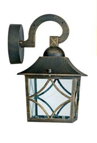 NEW Vintage Style Black/Gold IP44 Outdoor Garden Outside Wall Light Lantern