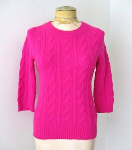 J Crew neon hot fuchsia pink 100% Italian cashmere sweater cable knit S