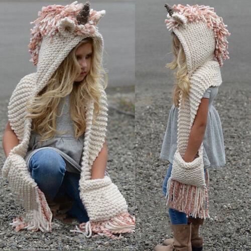 Kids Girls Unicorn Pink Hat Winter Knitted Hooded Scarf Gloves Earflap Cap 2-12Y