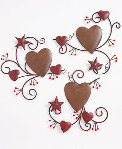 3 Pc Hearts And Stars Metal Wall Art Country Primitive Home Decor Ebay