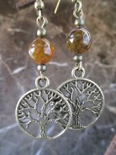 Bronze Dragon's Vein Agate Tree of Life Handcrafted Artisan Earrings