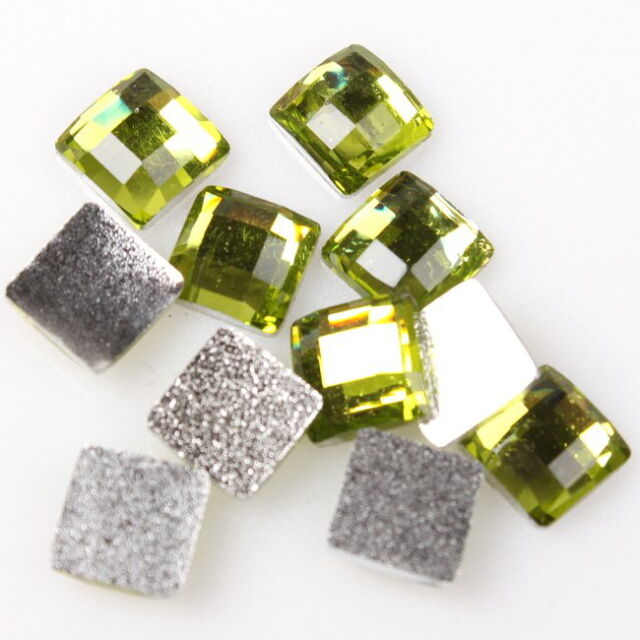 240x 24383 New Green Square Faced Charm Resin Flatback Embellishment 6mm