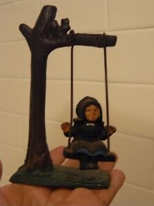 RARE-EARLY-VINTAGE-CAST-IRON-CHILD-ON-SWING-MINIATURE