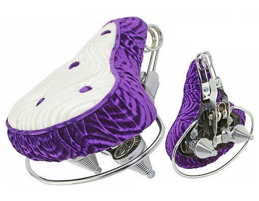 Comfortable Beach Cruisers Bicycle Seats Velour Purple White-218939