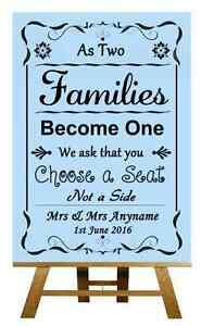 566ed2d3c11785 Blue Pick A Seat Not A Side Personalised Wedding Sign   Poster