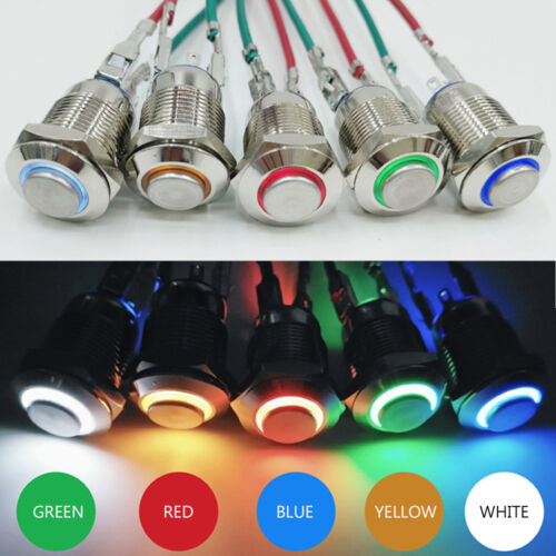 4 Pin 12mm Led Light Metal Push Button Momentary Switch Electrical Waterproof