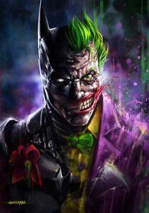 Batman-Joker-Split-Dc-Comics-Superhero-Poster-Lienzo-cuadro-Impresiones-De-Gran-Tamano