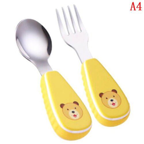 Baby fork /&spoon toddler utensils feeding training child tableware set 2pack LS