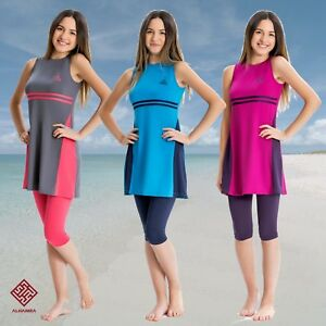 AlHamra-AL8080-Modest-Burkini-Swimwear-Teen-Capri-Muslim-Islamic-2-piece-UK-4-8