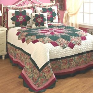 Peacock-Quilted-Bedspread-Woven-Cotton-Polyester-with-Polyester-Fiber-fill-NEW