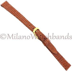 10mm-Speidel-Tan-Genuine-Lizard-Made-In-USA-Unstitched-Ladies-Watch-Band-SHORT