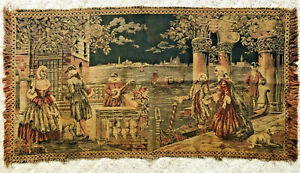 Antique-Tapestry-Renaissance-Venetian-Men-Women-Dog-Gondolas-Lute-Woven-Art-36-034