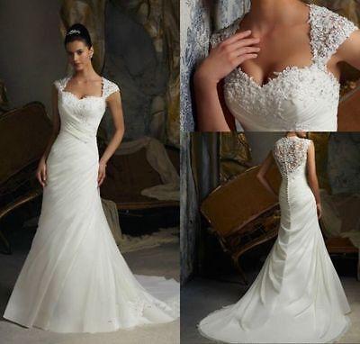 2016 New White/Ivory Bridal Gown Wedding Dress Stock Size 6 8 10 12 14 16