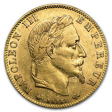 1862-1869 France Gold 5 Francs Napoleon III Laureate Avg Circ - SKU #91001