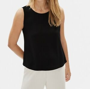 $178 NWT|Eileen Fisher Georgette Round Neck Shell Sleeveless Black Size PL