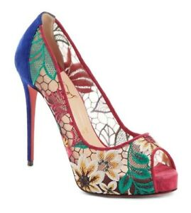 sale retailer 2ca2e 627c4 NIB Christian Louboutin Very Lace 120 Multi Platform Sandal ...