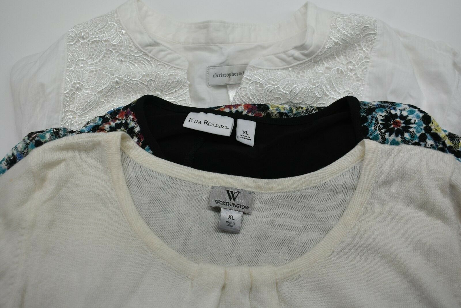 Lot of 3 Women's XL Christopher & Banks White LS … - image 1