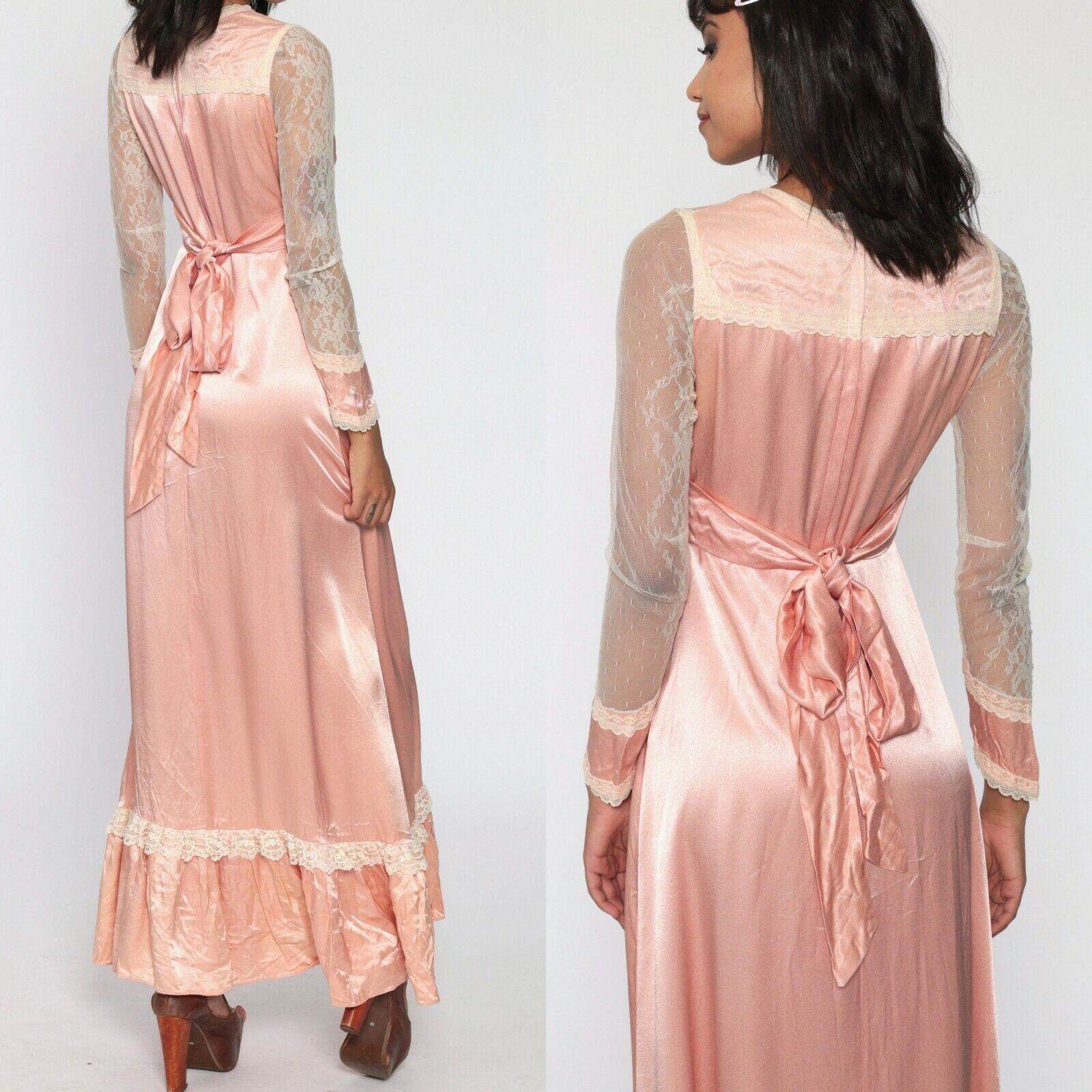 Gunne Sax satin beauty prairie 1970s dress - image 4