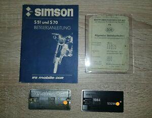 Original DDR Simson S51 Typenschild mit originalen Papieren & Betriebsanleitung