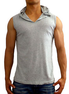 e8f51d05da5ee2 MENS PLAIN WHITE HOODED SLEEVELESS SINGLET TANK TOP GYM MUSCLE FASHION  CASUAL
