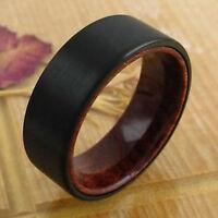Tungsten Men's Ring Black Flat Band Red Sandal Wood Interior