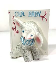 """Sweet Pretty Boys Vintage Napco Baby's Room Planter Lamb &Baby Book """"Our Baby"""""""