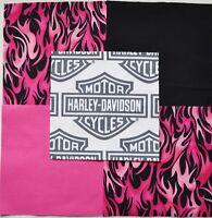 32 6 Harley Davidson Logo Shield Pink Flames Pink Solid Quilt Fabric Squares