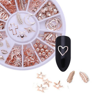 3D-Nail-Art-Rose-Gold-Decorations-DIY-Starfish-Shell-Manicure-In-Wheel-Nail-Art