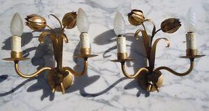 Paire appliques fleurs pavot métal doré luminaire vers 1950 J9lvAtEY-07203414-506524124