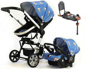 Urban-Ranger-2-3-IN-1-Travel-System-Blue-Car-Seat-amp-ISOFIX-BASE-Pram-Buggy