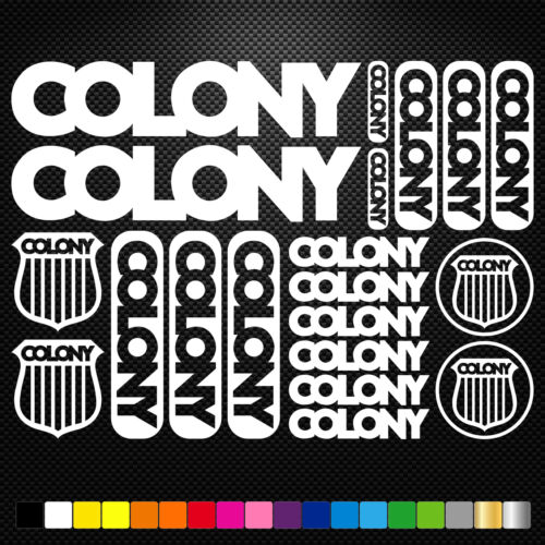 Colony BMX Vinyl Decals Stickers Sheet Bike Frame Cycle Cycling Bicycle Mtb Road