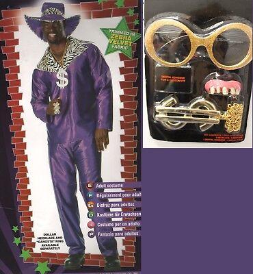 Mac Daddy Hot City Night Purple Pimp Suit Fancy Dress Up Halloween Adult Costume