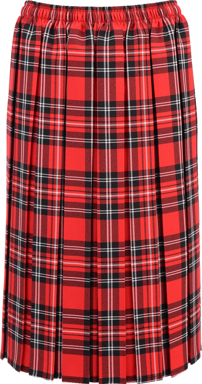 Womens Tartan Box Pleated Skirt Elasticated Waist 27 inch Length KK20