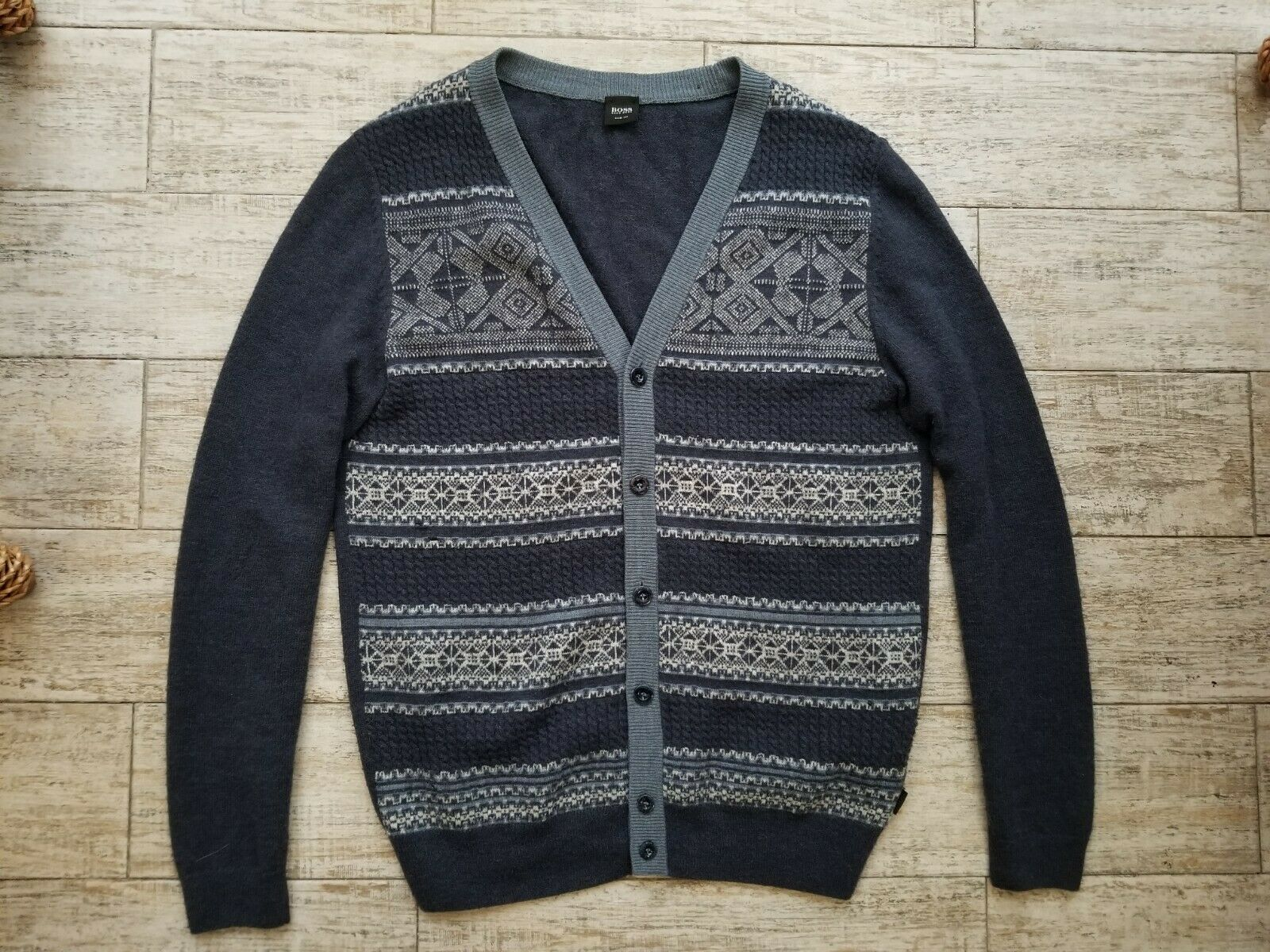 Hugo Boss Knitwear Wool Alpaca Angora Silk Cardigan Size L Slim Fit Lester