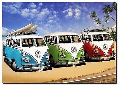 Volkswagen Van Peace Sign Beach UK import Poster 24 X 36